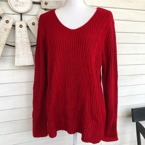 Red Cable Knit V Neck Sweater